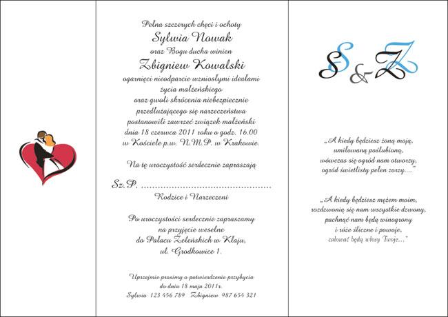 Zaproszenia ślubne Z010023 Kinga