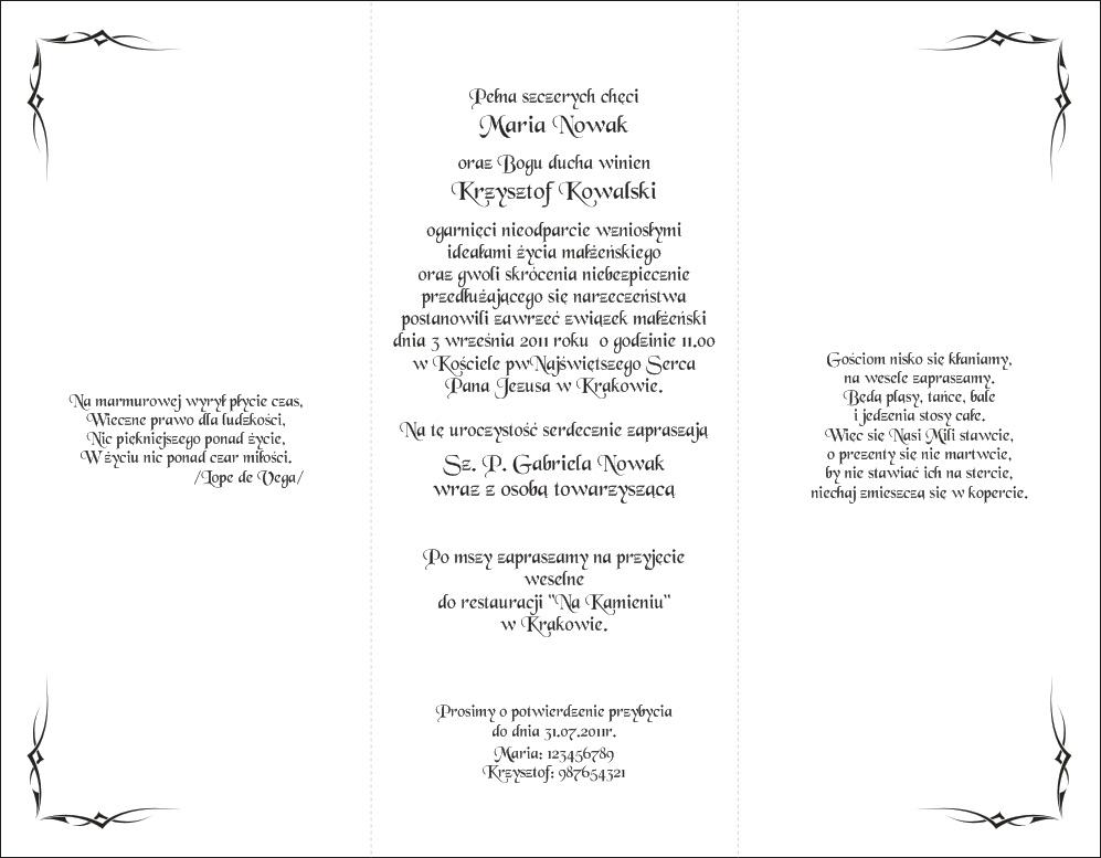 Zaproszenia Na ślub Z010017c