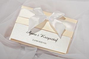 Eleganckie zaproszenia ślubne z kokardą
