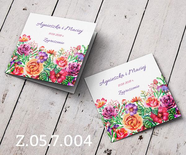 Zaproszenia ślubne Z057004 Wielokolorowe Kwiaty Folkowe
