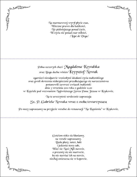 Zaproszenia ślubne Kornelia Z021019