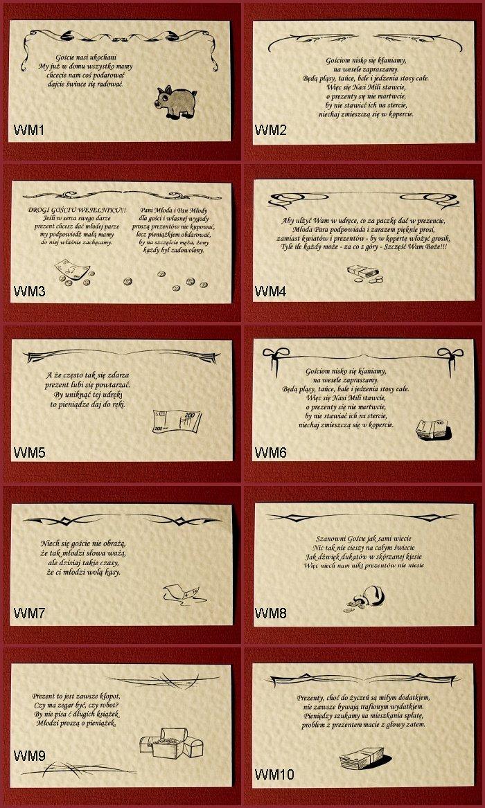 Specyfikacja Wkładki Do Zaproszeń ślubnych