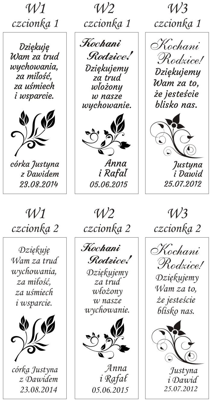Wzory grawerowanych wazownów jako podziękowań dla rodziców