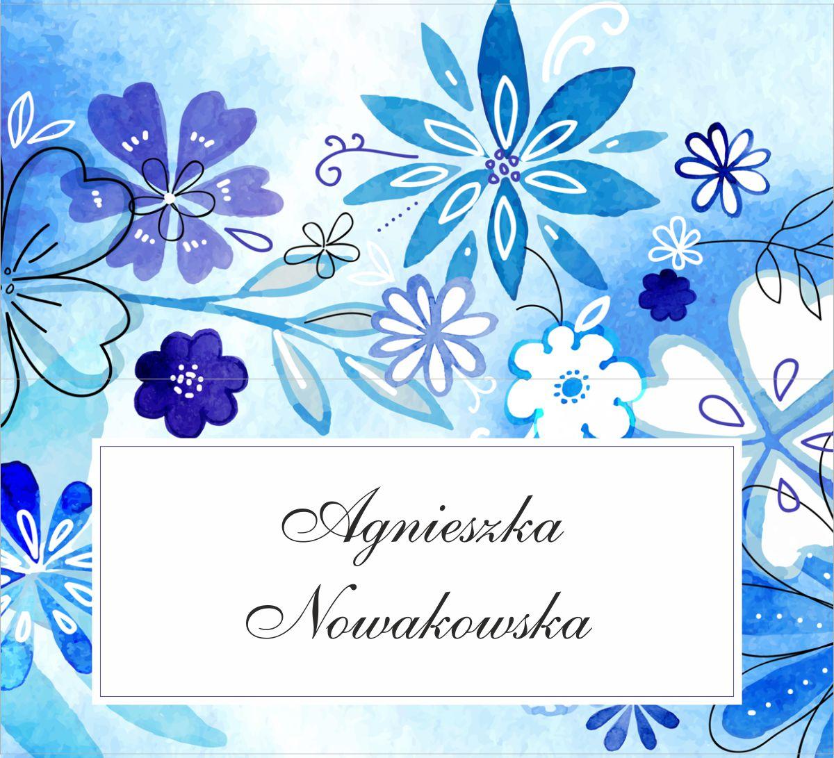 tanie winietki ślubne niebieskie kwiaty