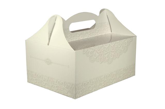 Topnotch Pudełka na ciasto weselne dla gości z nadrukiem koronkowych wzorów TH97