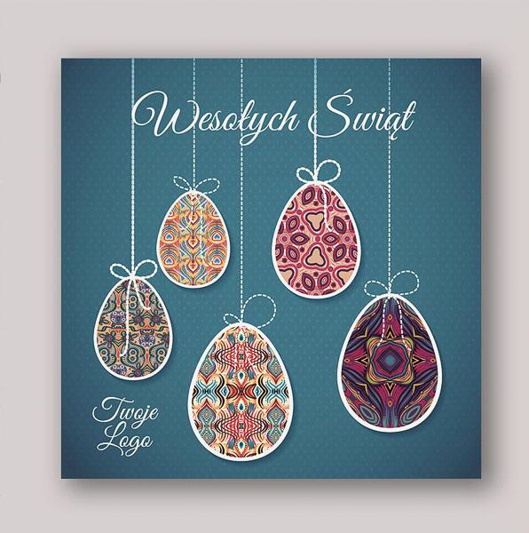 W Mega Eleganckie kartki świąteczne dla firm na Wielkanoc z pisankami LN04